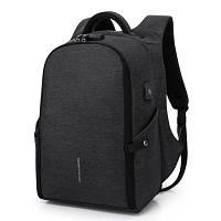 Рюкзак для ноутбука  с USB портом темно серый, фото 1