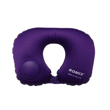 Дорожная надувная подушка для шеи со встроенной помпой Romix RH34PR фиолетовая