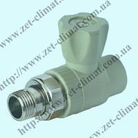 Кран шаровой полипропиленовый (PPR) d 25 х ¾ ̋ Н (прямой) радиаторный латунный шар под пайку