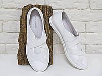 Кеды из натуральной кожи белого цвета в комбинации с эластичной лентой на белой подошве, Коллекция Весна-Осень, Т-17002