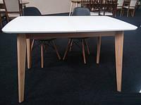 Стол кухонный БУК с белым раскладной  Модерн 120 см (160)х75 СО-293.3 массив бук + МДФ