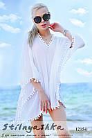 Пляжная туника на купальник Баламбошки белая, фото 1