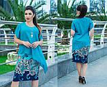 Плаття - костюм, імітація костюма з шифоновою блузою асиметрична, 2 кольори, р. 50,52,54,56,58,60 код 5636О, фото 2