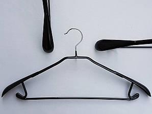 Плечики металлические в силиконовом покрытии широкие черные, 43,5 см