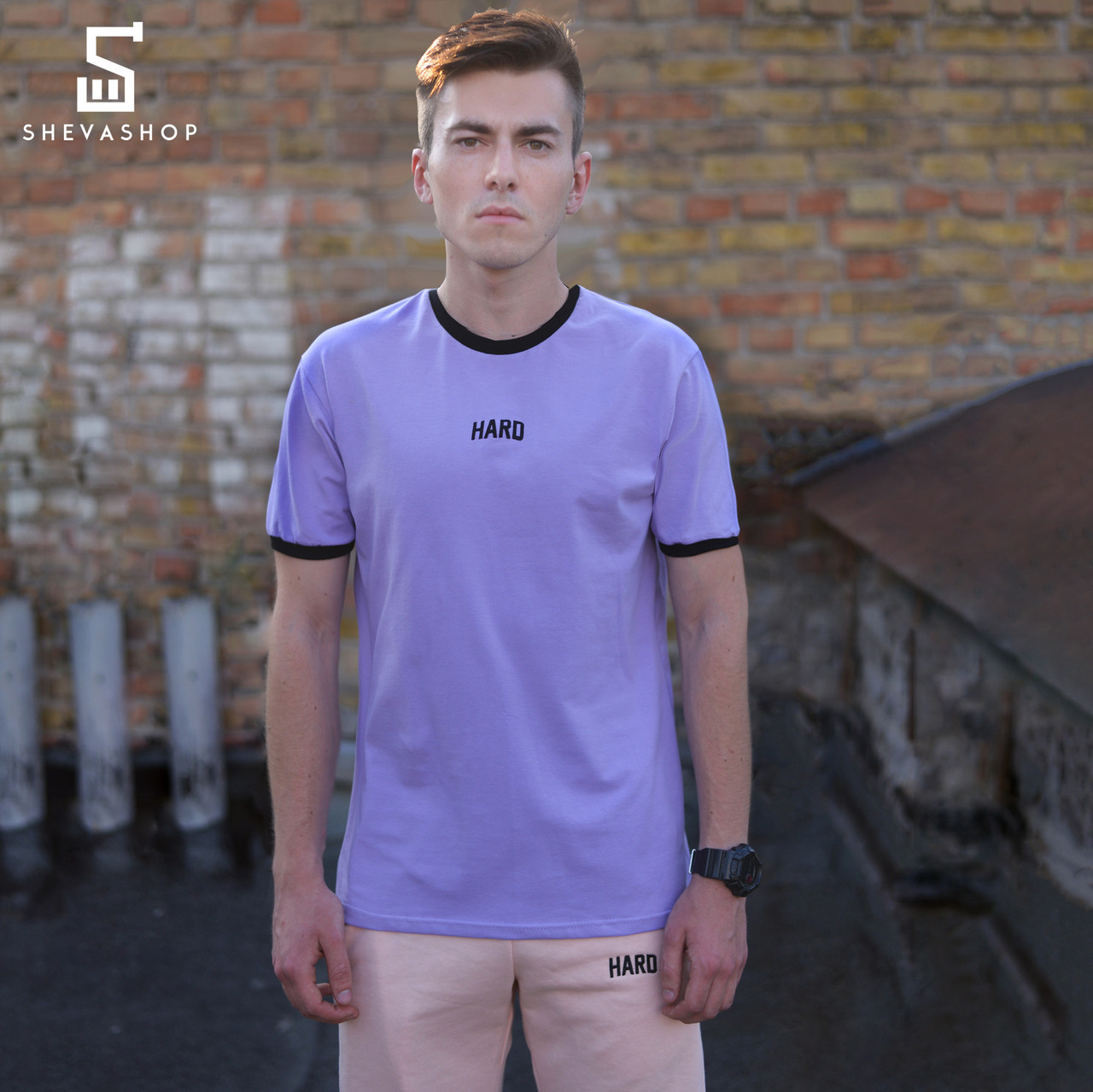 Мужская футболка HARD — НШВ фиолетовая