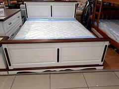 Ліжко двоспальне дерев'яне Жизель 160х200 RoomerIN , колір білий + горіх