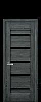 Дверь межкомнатная  Нано Флекс LIRA С черным стеклом цвет дуб графит