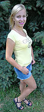 Футболка женская жёлтая копия  gucci