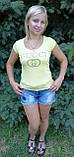 Футболка женская жёлтая копия  gucci, фото 2