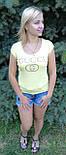Футболка женская жёлтая копия  gucci, фото 3