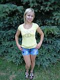 Футболка женская жёлтая копия  gucci, фото 4