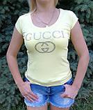 Футболка женская жёлтая копия  gucci, фото 6