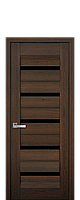 Дверь межкомнатная Нано Флекс LIRA С черным стеклом цвет дуб шоколадный