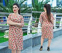 Платье трапецевидное, легкое, свободное, летнее платье, три цвета, р.50,52,54,56,58,60 код 5654О