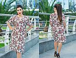 Платье трапецевидное, легкое, свободное, летнее платье, три цвета, р.50,52,54,56,58,60  код 5654О, фото 3