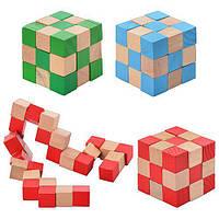 Деревянные игрушки Кубик Головоломка Змейка Развивающий 2 в 1, MD 0355, 000382