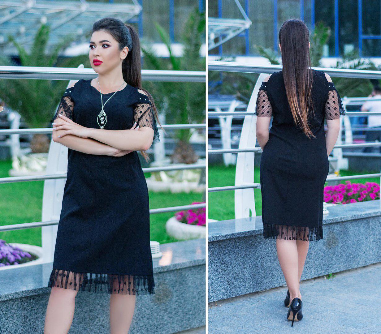 Шикарное платье с кулоном в комплекте, для праздника и на каждый день, р.50,52,54,56,58,60 код 5656О