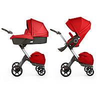 Детская коляска 2 в 1 DSLandXplory V6 Red (Красная) Аналог Stokke Прогулочный блок + люлька