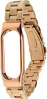 Ремешок UWatch Metal Strap With Frame For Xiaomi Mi Band Rose Gold