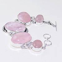 Красивый браслет - розовый кварц в серебре. Браслет с розовым кварцем., фото 1