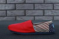 Женские Мокасины Toms Red Usa big flag (реплика), фото 1