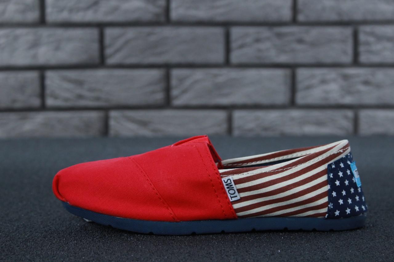 Женские Мокасины Toms Red Usa big flag (реплика)