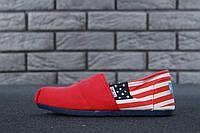 Женские Мокасины Toms Red Usa flag (реплика), фото 1