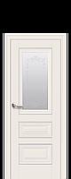 Межкомнатная дверь Premium Статус с матовым стеклом, молдингом и рисунком, цвет магнолия