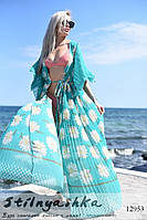 Пляжная длинная накидка на купальники индиго гофре, фото 1