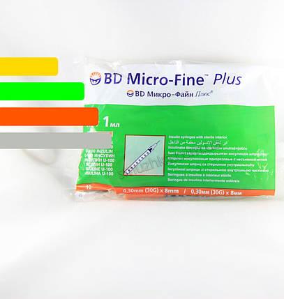 Шприц инсулиновый BD Micro-fine Plus-Микрофайн 1ml, игла 8мм, фото 2