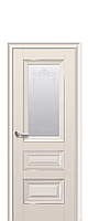 Межкомнатная дверь Premium Статус с матовым стеклом, молдингом и рисунком, цвет капучино