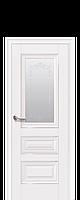 Межкомнатная дверь Premium Статус с матовым стеклом, молдингом и рисунком, белый матовый