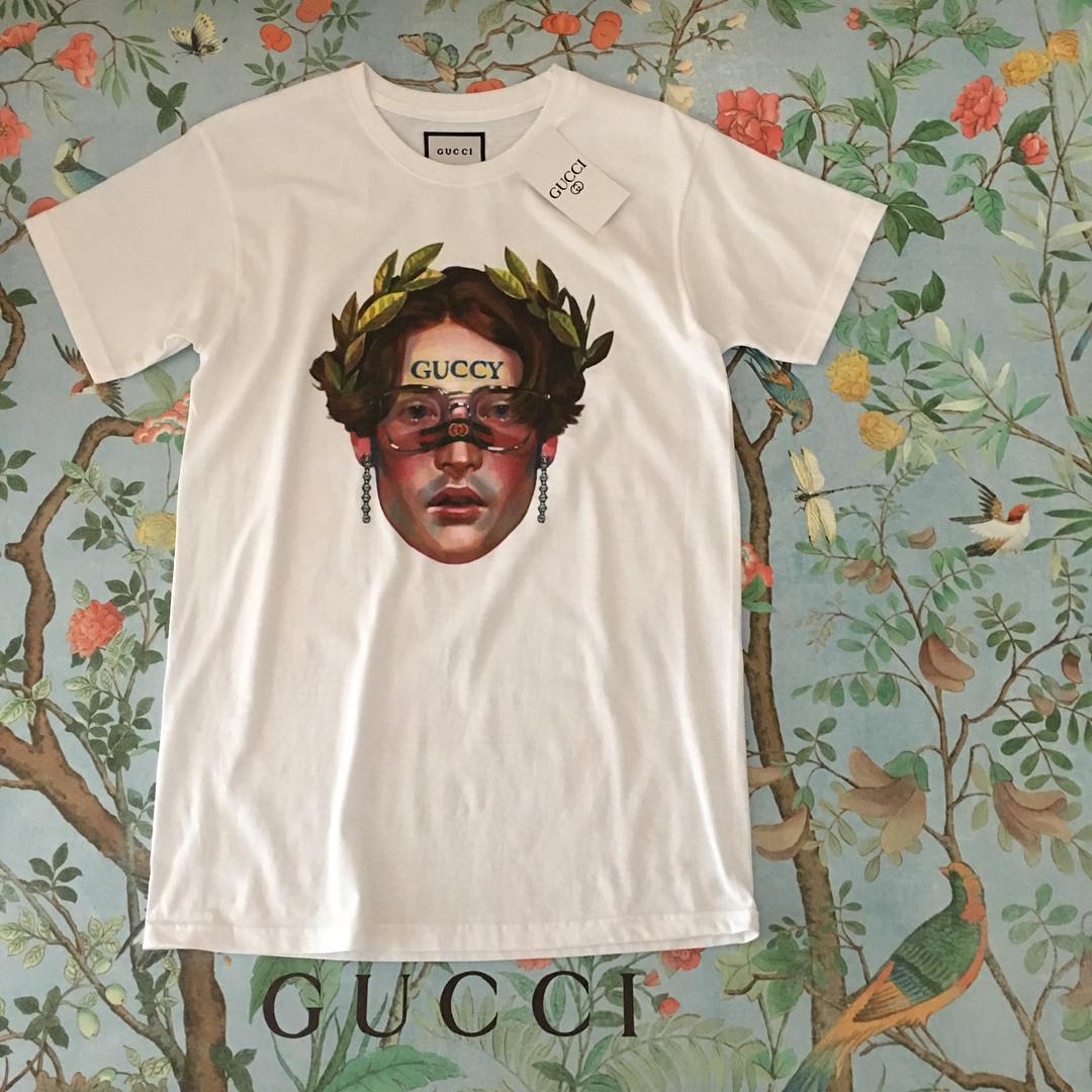 10c14025936f ... Футболка белая женская брендовая с принтом Девушка с лавровым венком от Gucci  Гуччи, ...