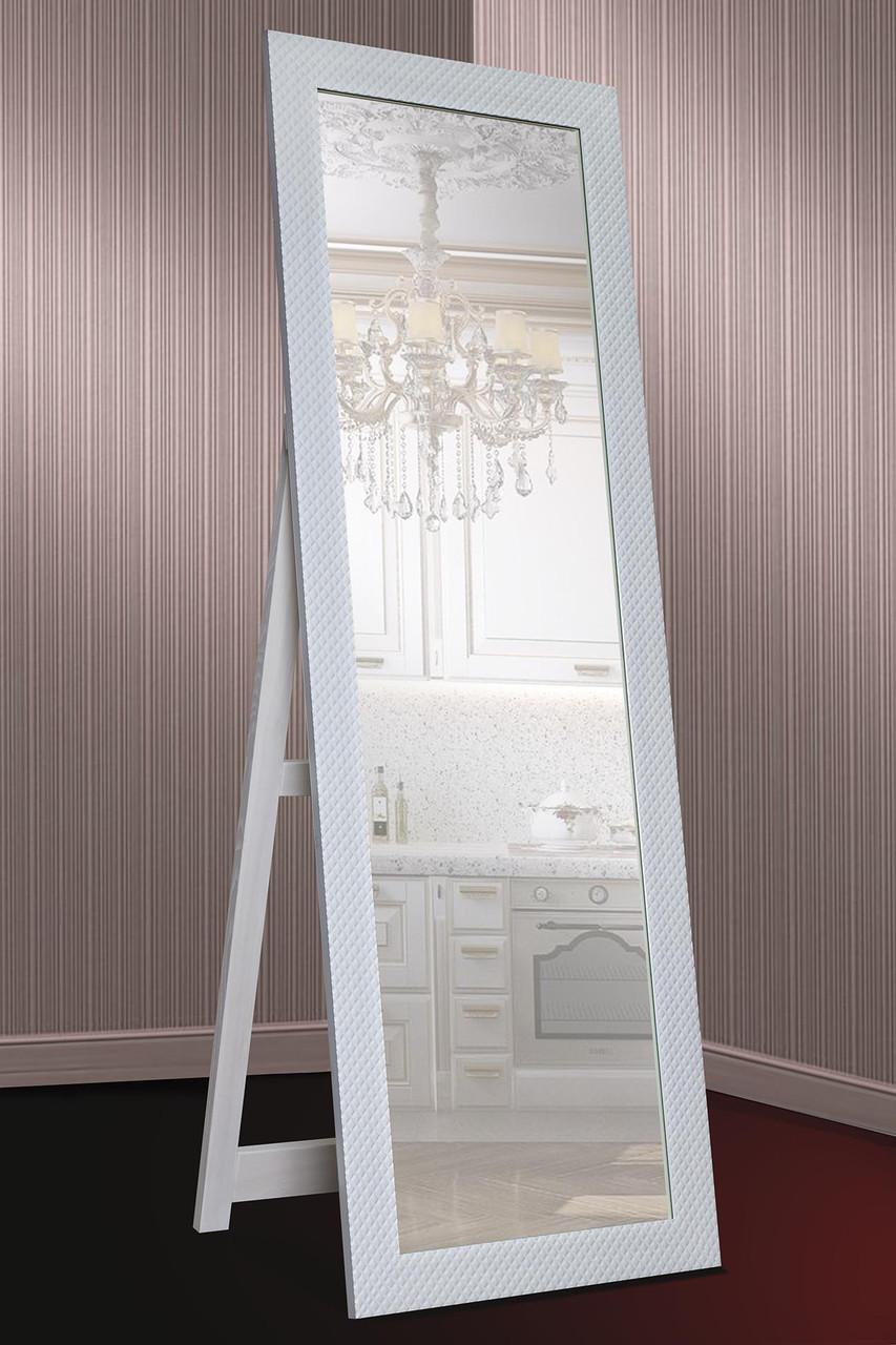 Зеркало напольное Factura в пластиковом багете с опорной деревянной подставкой 60х174 см белое
