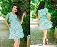 Платье, из ткани лен, силуэт А-образный,  р.50,52,54,56,58,60 код 5672О