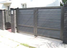 Распашные ворота жалюзи из ламелей 4500х2000