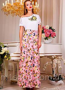 Женское летнее платье в пол с цветочной юбкой (0871-0869 svt)