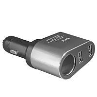 Универсальное автомобильное зарядное устройство Yopin CC-030 серое (3.1А/1A) для навигатора планшета смартфона