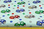 """Ткань хлопковая """"Машинки и горошек"""" на мятном (№1401), фото 2"""