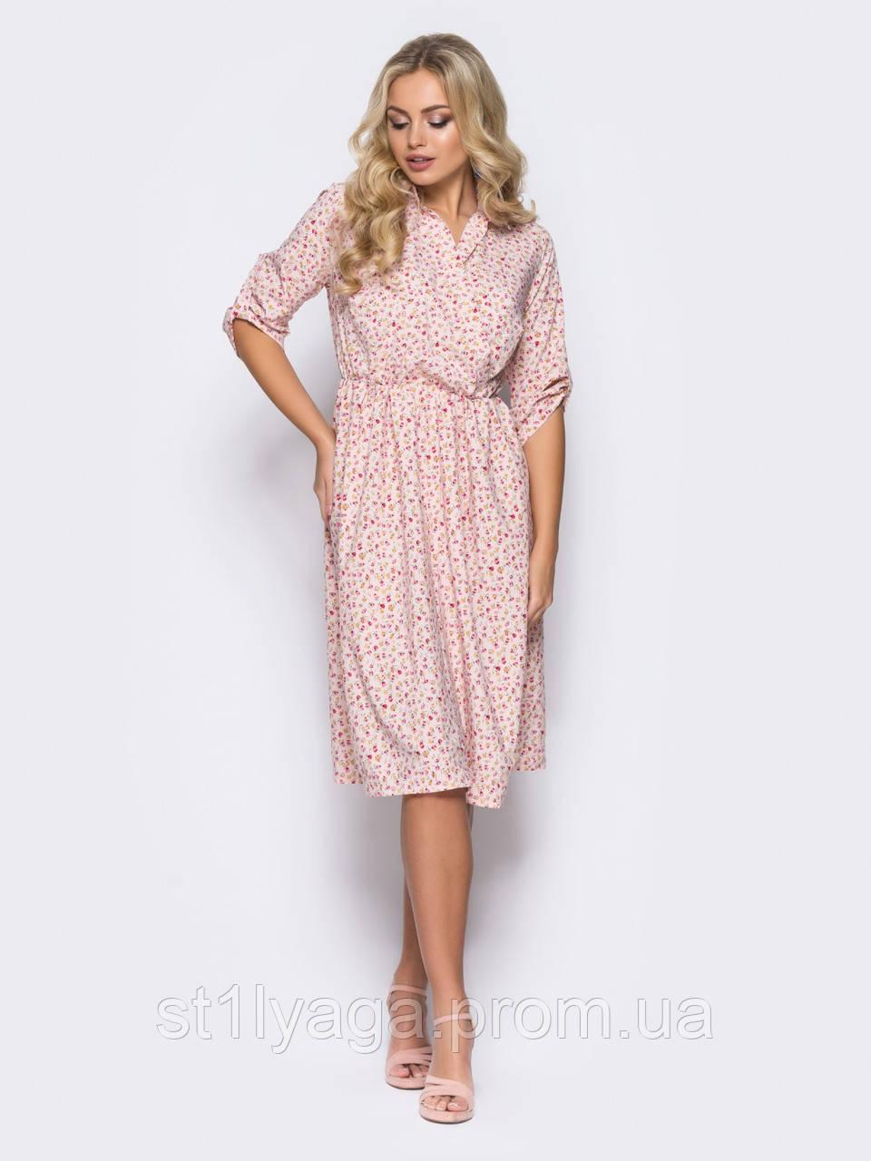 b7a8bf9b4a5 Воздушное платье в мелкий цветочек и рукавами три четверти ЛЕТО -  Интернет-магазин Stilyaga-