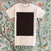 Футболка белая женская брендовая с принтом Черный квадрат от Gucci Гуччи 9ce636c0970