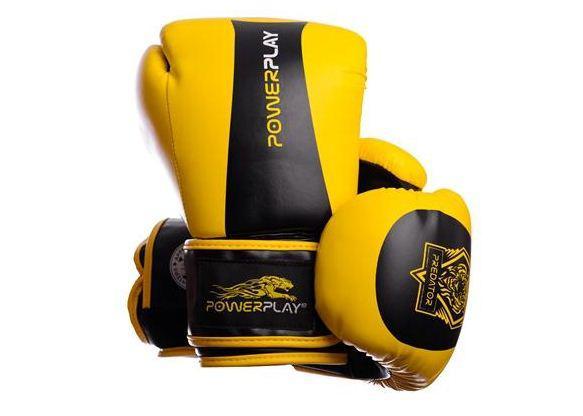 Боксерские перчатки PowerPlay 3003 Tiger Series желто-черные 12oz