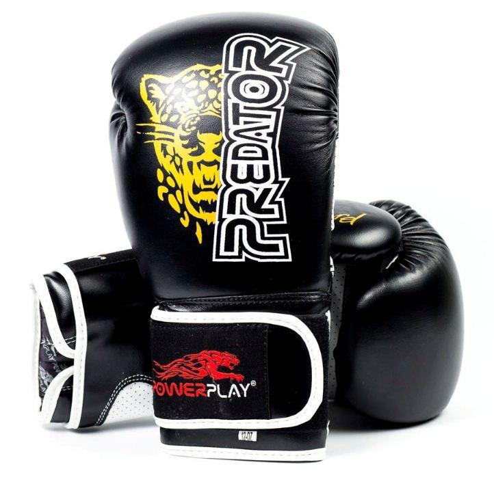 Боксерські рукавички PowerPlay 3009 Leopard Predator Serits чорні 12oz