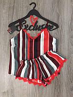 Стильный молодежный комплект в полоску, майка и шорты с кружевом