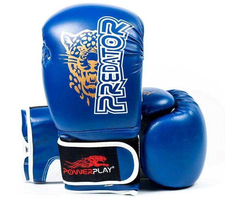 Боксерские перчатки PowerPlay 3009 Leopard Predator Serits синие 10oz
