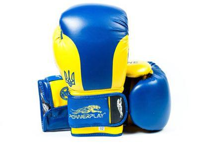 Боксерські рукавички PowerPlay 3021 Ukraine сині-жовті 12oz