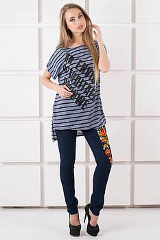 Женская футболка свободного кроя Джина цвет синий полоска, размер 48,50,52,54