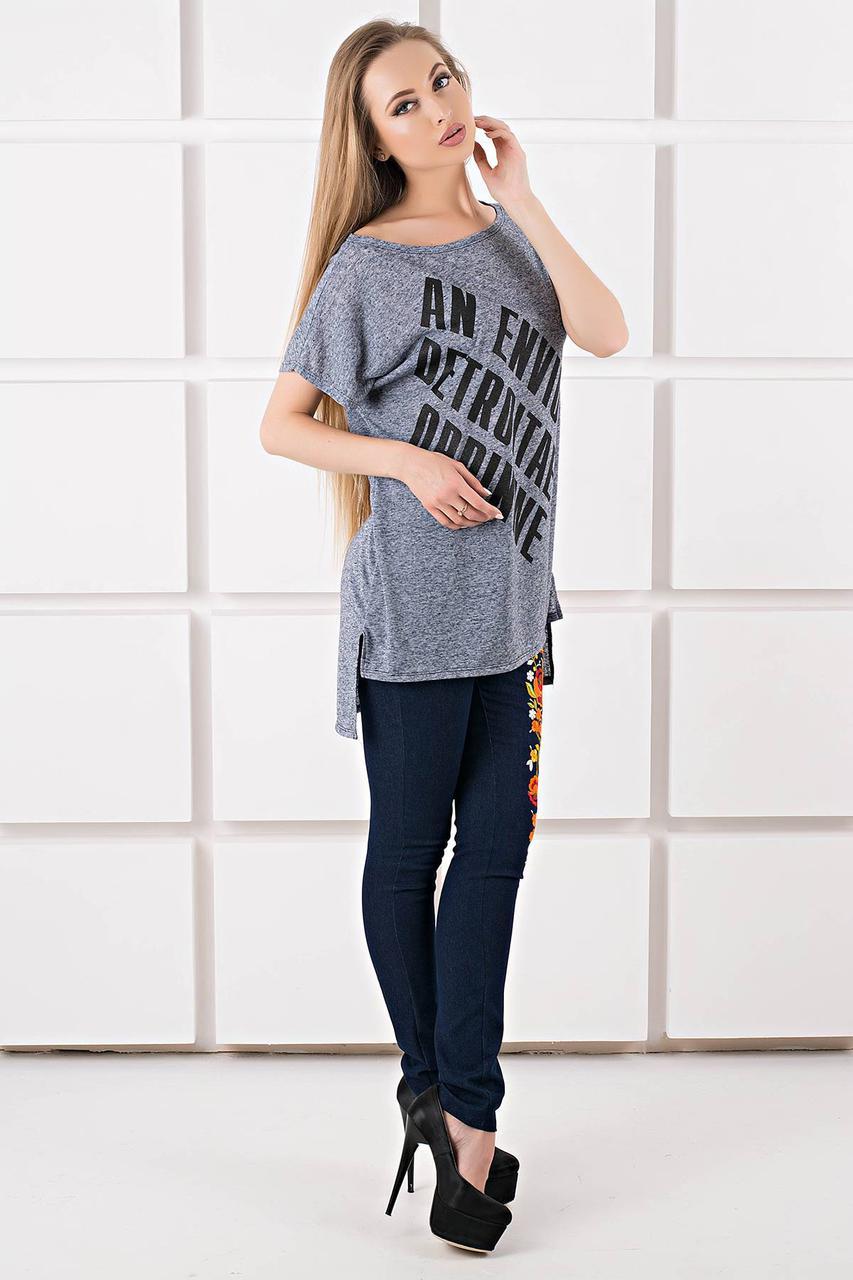 202396f2fcadf Я-Модна - купить Женская футболка свободного кроя Джина цвет синий ...