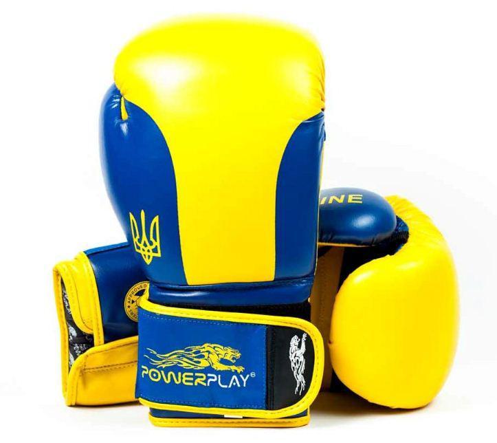 Боксерские перчатки PowerPlay 3021 Ukraine желто-синие