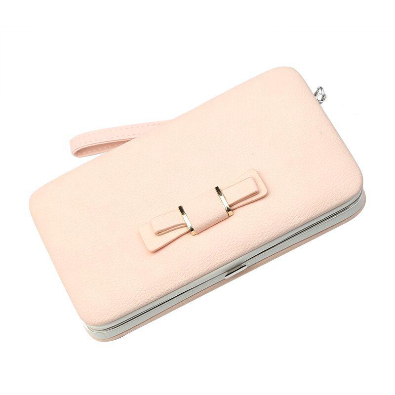 Женский кошелек BAELLERRY Pidanlu Style кожаное портмоне на кнопке Пудровый (SUN0987)